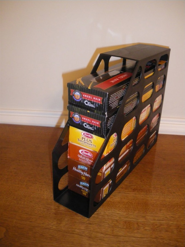 11. A magazine holder will stack your pasta boxes