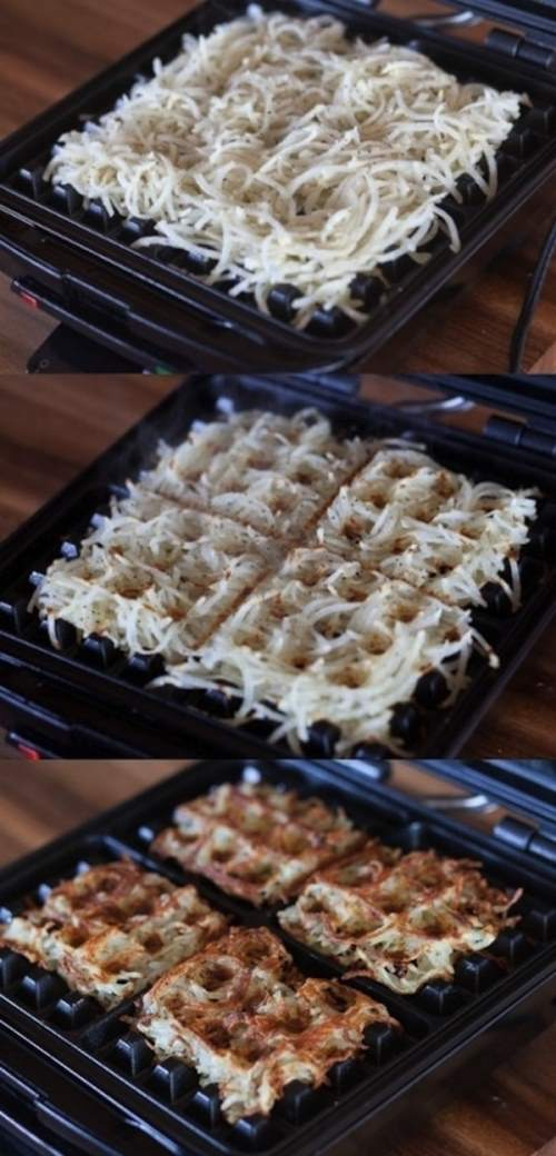 13. Hash browns - Use your waffle iron and enjoy!