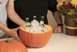 17. Turn a pumpkin into a Beer cooler. Perfect for this Halloween