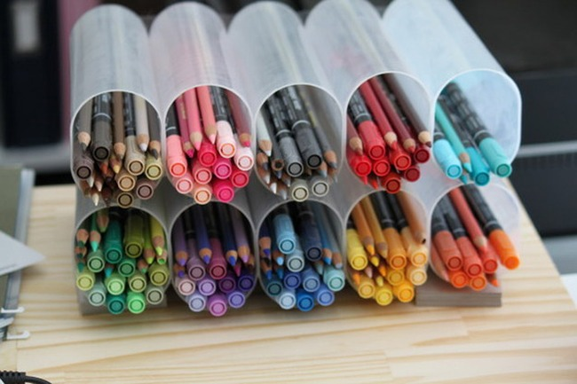 3. Organise the art supplies in crystal light containers
