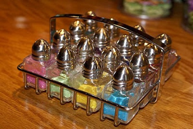 5. Salt and pepper shakers are the best glitter organisers