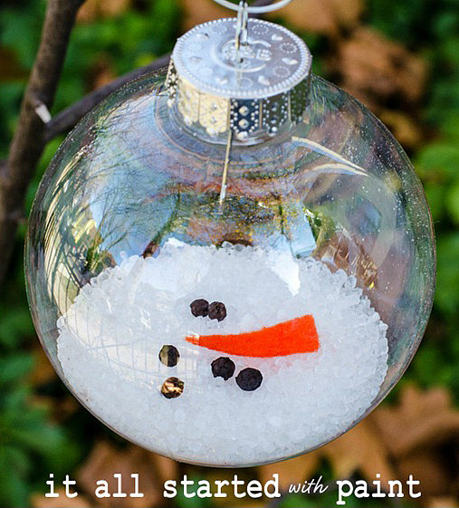 11. Melted Snowman Ornaments - Keep your snowman on your tree forever