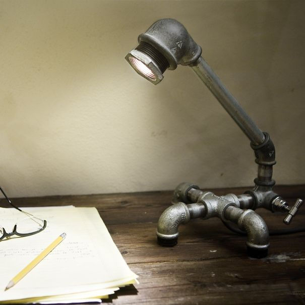 10. Iron pipe desk lamp