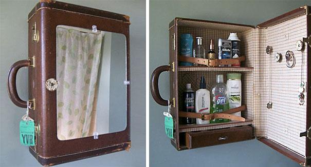 16. Old suitcase medicine cabinet