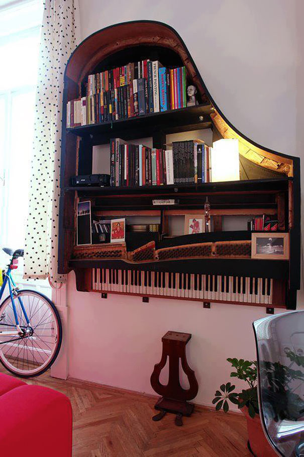 21. Old piano bookshelves