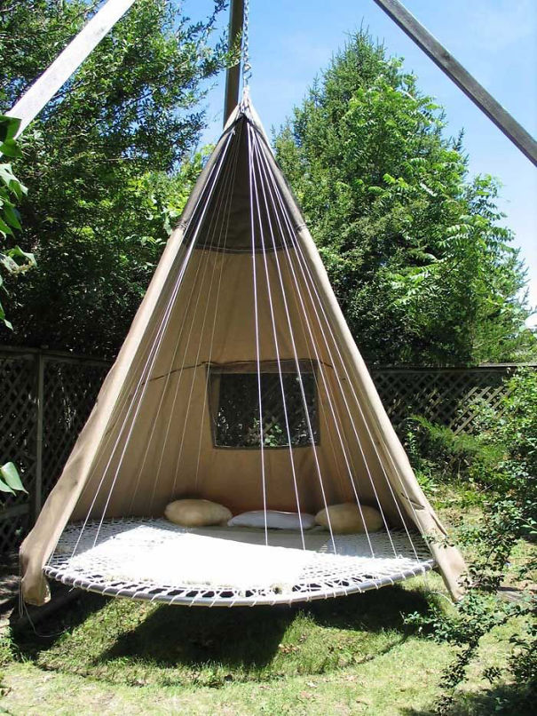 22. Old trampoline wigwam swing