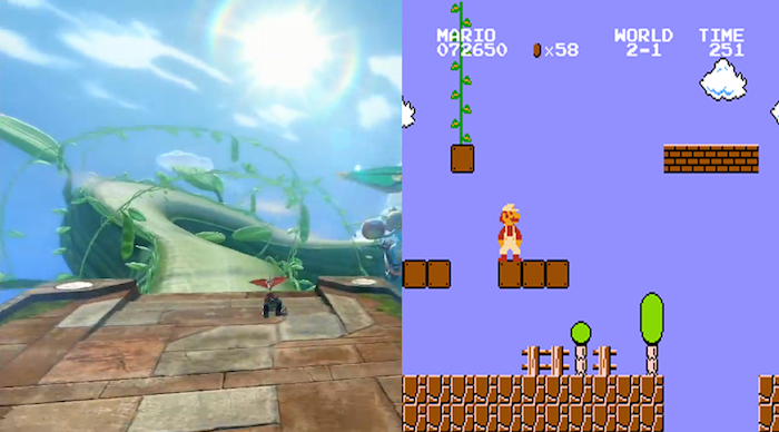 2. Mario Kart 8 Cloudtop Cruise has a beanstalk coming out of a Question block, just like in Super Mario Bros