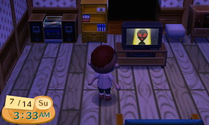 4. In Animal Crossing, an alien shows up on TV at 3-33 on Sundays and Mondays.