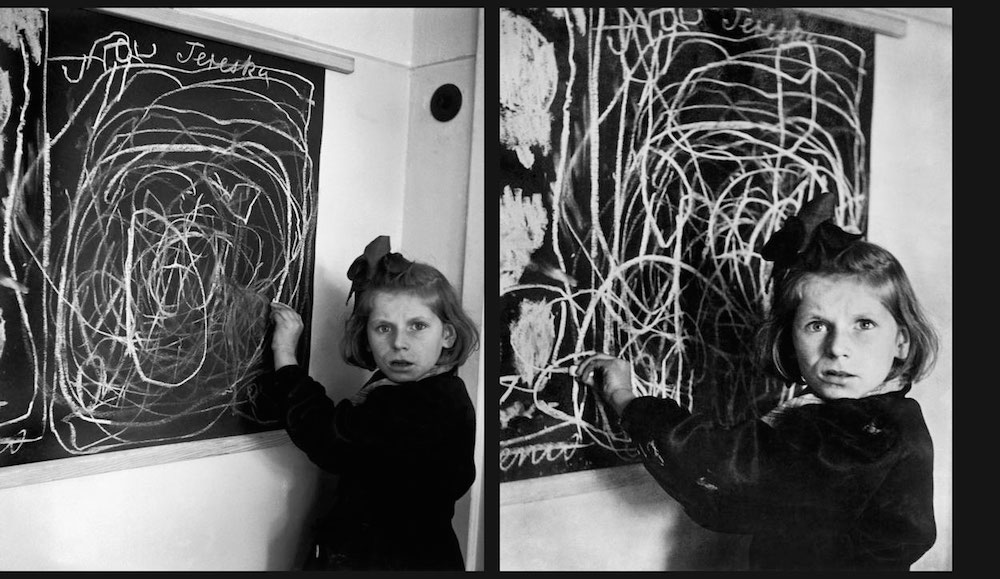 Teresa, a girl who grew up in a concentration camp, draws home, Poland, 1948