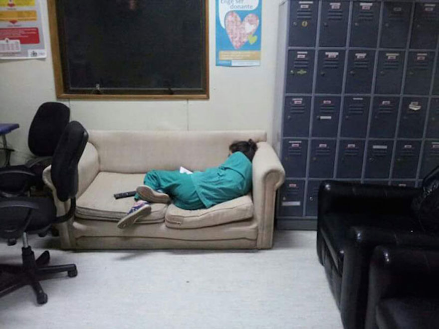 38 Uncomfortable Ways Exhausted Doctors Can Sleep In