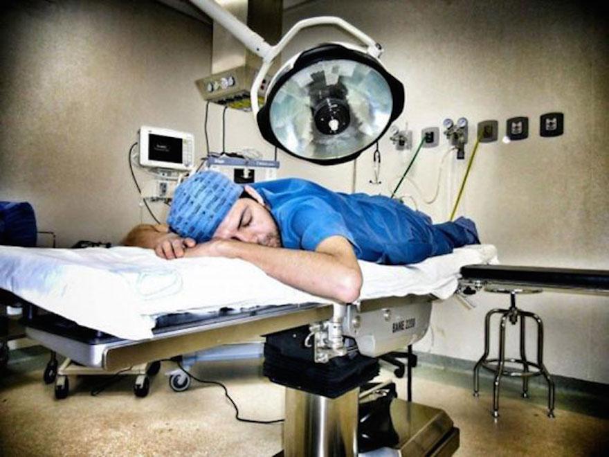 Uncomfortable Ways Exhausted Doctors Can Sleep