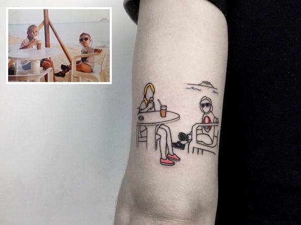 Beautiful Minimalist Tattoos Of Fond Family Photos