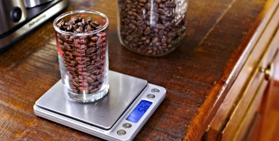 Weighing Coffee Beans For Brewing on a Digital Scale