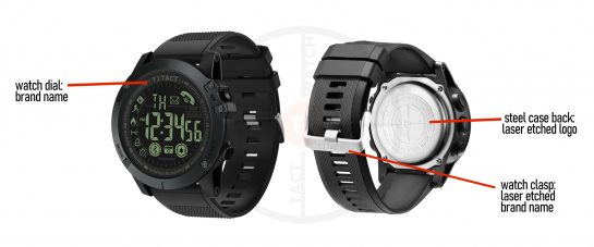 T1 Tact Watch Co Display of Authentic Markings on Midnight Diamond tactical Smartwatch